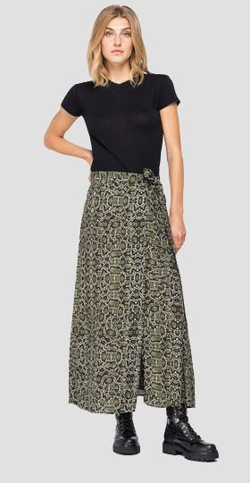 Long skirt with all-over python print