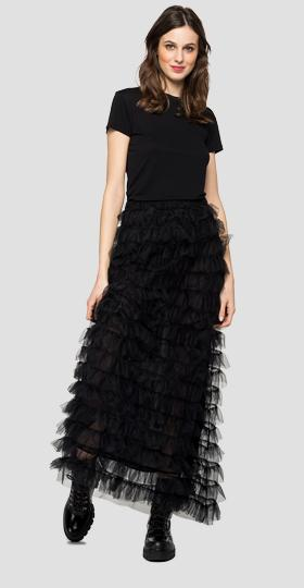 Long frilled skirt in tulle