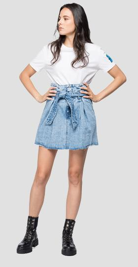 Folded skirt in denim