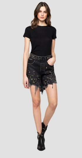 Denim shorts with Rose Label studs