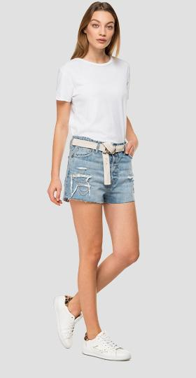 Denim shorts pants with chains