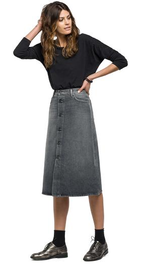 White weft black denim skirt wa9232.000.48a 132