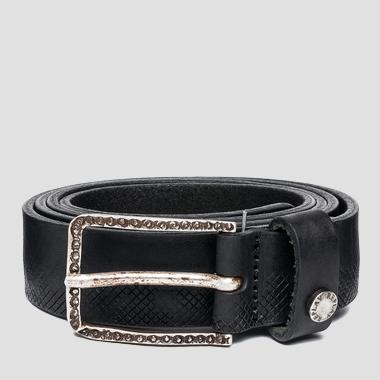 Men's belt with engraved buckle - Replay AM2458_000_A3077_098_1
