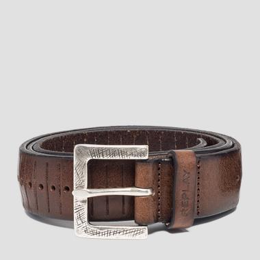 Engraved leather belt - Replay AM2555_000_A3007_127_1