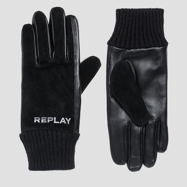 Suede and leather gloves - Replay AM6048_000_A3175_098_1