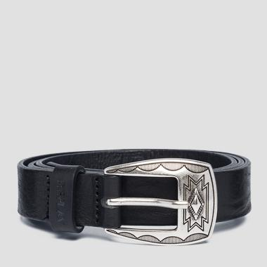 Vintage leather belt with buckle - Replay AW2526_000_A3077_098_1
