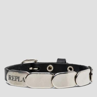 Leather and metal bracelet with buckle - Replay AW7130_000_A3045_098_1
