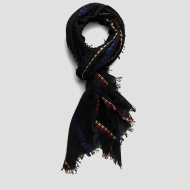 Cotton scarf with contrast embroidery - Replay AW9190_000_A0190G_098_1