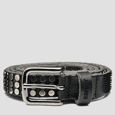Unisex studded leather belt - Replay AX2196_001_A3007_891_1
