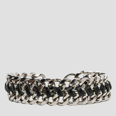 Unisex metal and leather bracelet - Replay AX7039_000_A3045_899_1