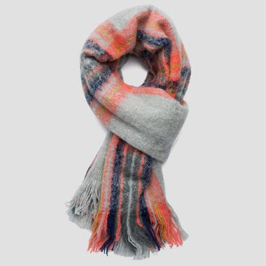 Tartan scarf with fringes - Replay AX9234_000_A0310_1390_1