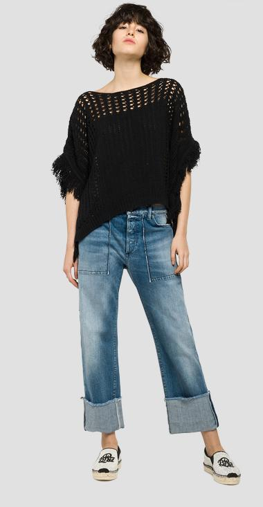 Long cotton jumper with fringes - Replay DK2014_000_G22364_098_1
