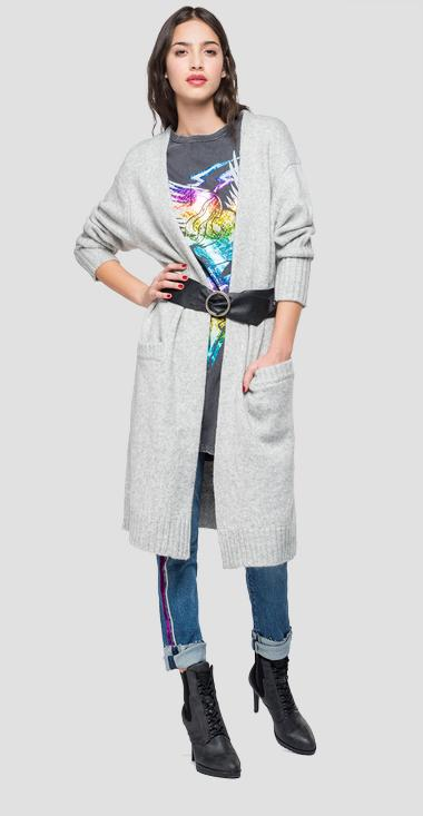 Oversized cardigan with pockets - Replay DK6014_000_G22650_M04_1