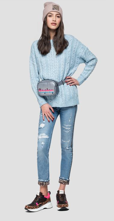 Cable knit crewneck sweater - Replay DK6015_000_G22650_110_1