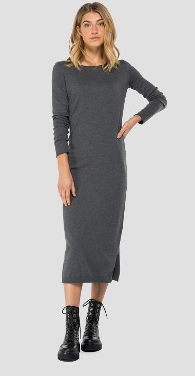 Hyperflex cotton midi sweater dress - Replay DK7089_000_G22920_M04_1