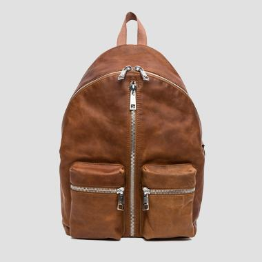 Distressed leather backpack with two-way zip - Replay FM3291_001_A3127_045_1