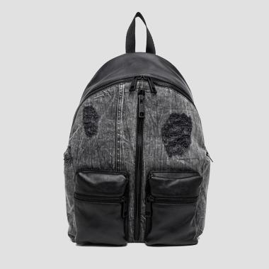 Washed denim and leather backpack - Replay FM3293_000_A3155A_098_1