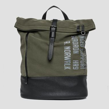 Canvas backpack with eco-leather details - Replay FM3295_000_A0050A_057_1