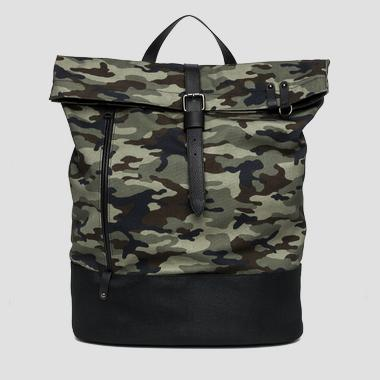 Camouflage backpack with eco-leather details - Replay FM3295_000_A0050_1149_1