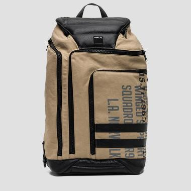 Canvas backpack with faux leather detailing - Replay FM3296_000_A0332_046_1