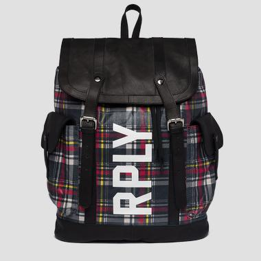 Backpack in leather and waxed cotton - Replay FM3421_000_A0396_1274_1