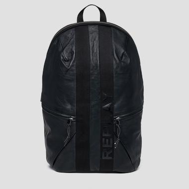 Leather backpack with geometrical cuts - Replay FM3422_000_A3176_098_1