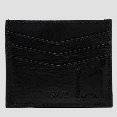 Leather card holder with logo - Replay FM5088_002_A0181D_492_1