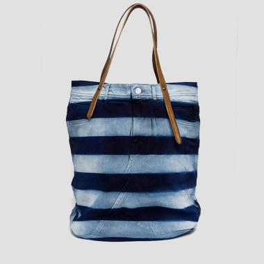 Denim bag with leather handles - Replay FW3329_007_A0181A_901_1