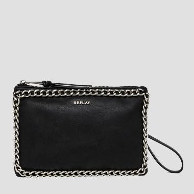 Faux leather clutch with chain detailing - Replay FW3622_001_A0180C_098_1