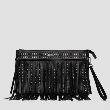 Fringed faux leather clutch with studs - Replay FW3657_000_A0157A_098_1