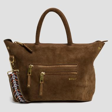 Leather bag with patterned shoulder strap - Replay FW3674_001_A3054_140_1