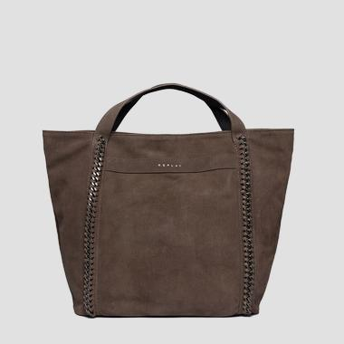 Shopper bag in suede with chains - Replay FW3836_010_A3154_126_1