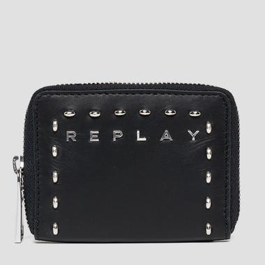 Leather coin wallet with studs - Replay FW5197_000_A3127_098_1
