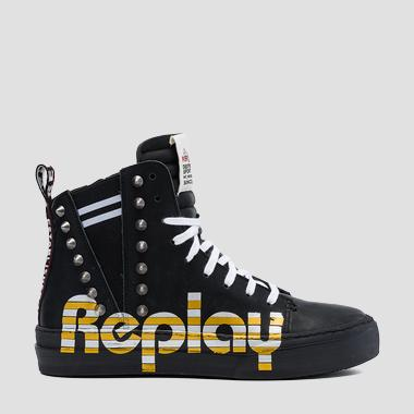 Women's THAIS mid cut leather sneakers - Replay GWZ1F_000_C0006L_2693_1