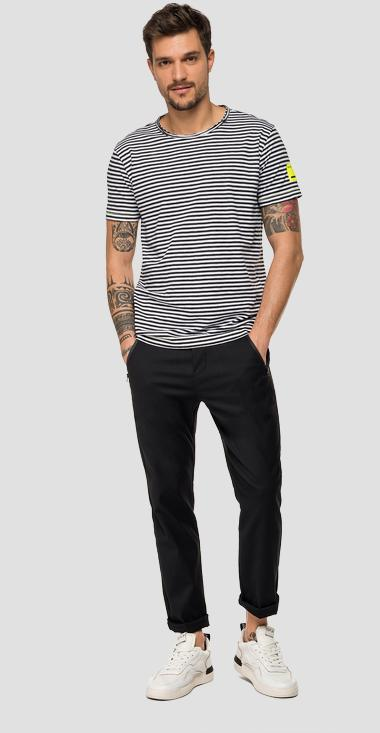 Striped cotton t-shirt with R logo - Replay M3068_000_52260_010_1
