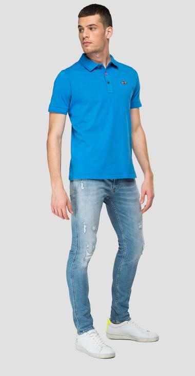 Jersey polo shirt with REPLAY print - Replay M3076_000_22704G_972_1