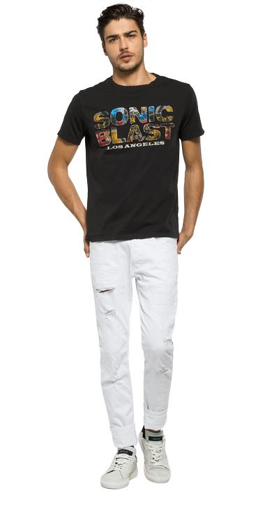 T-shirt with patches and back print - Replay M3276_000_20994_099_1