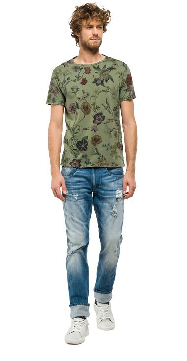 T-shirt with all-over floral print - Replay M3278_000_71282_010_1