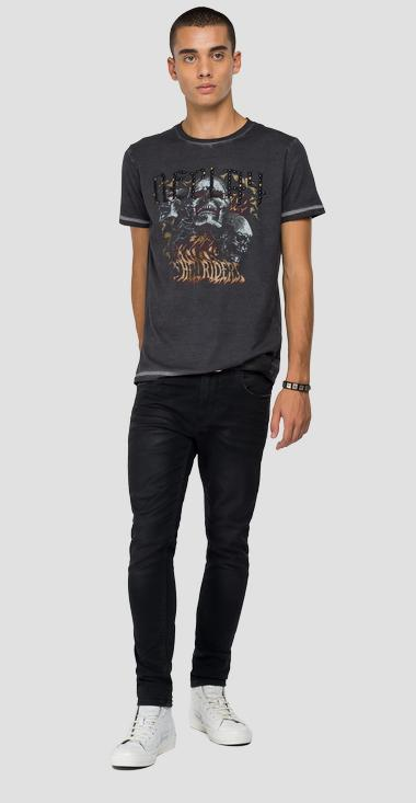 REPLAY ROCK CAPSULE COLLECTION t-shirt with HELLS RIDERS print - Replay M3279A_000_22974G_099_1