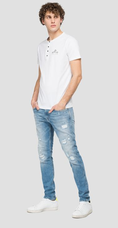 REPLAY BLUE JEANS grandad neck t-shirt - Replay M3366_000_22038C_001_1