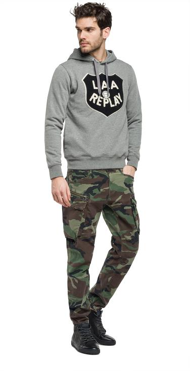 Hoodie with patch - Replay M3437_000_21842_M14_1