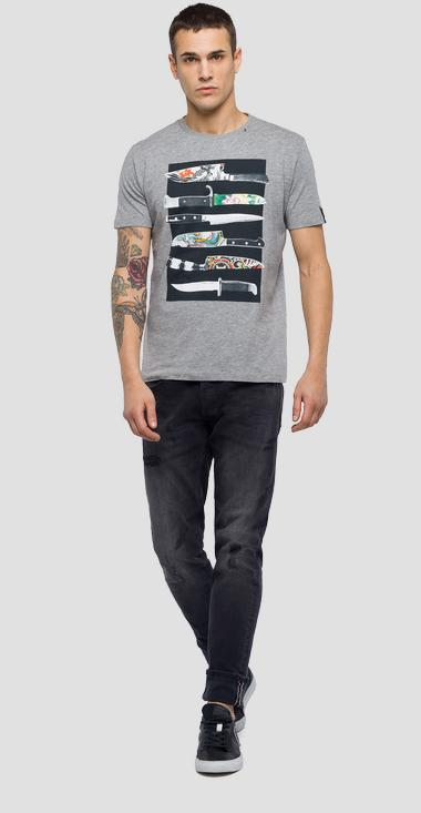 T-shirt with knife print - Replay M3735_000_2660_M02_1
