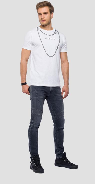 T-shirt with chain print - Replay M3744_000_22336_001_1