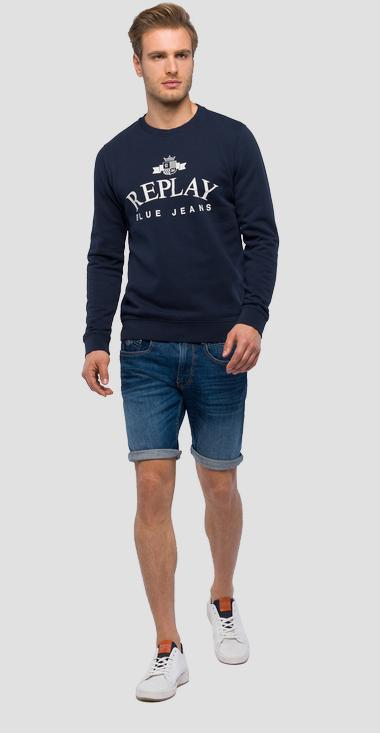 Crewneck sweatshirt with emblem - Replay M3795_000_21842_576_1