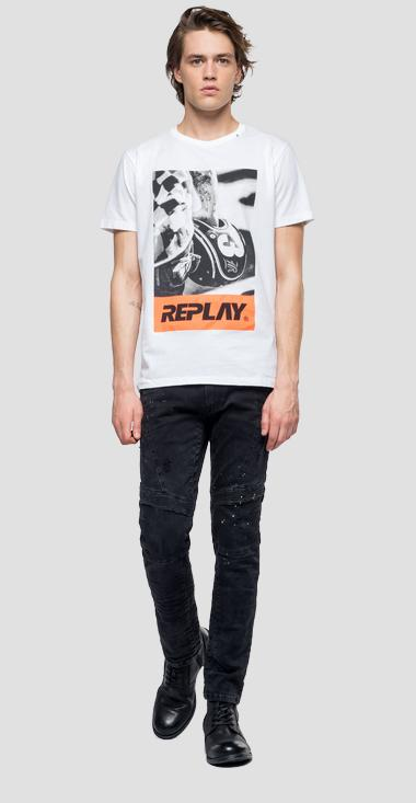 Biker print t-shirt - Replay M3854_000_2660_001_1