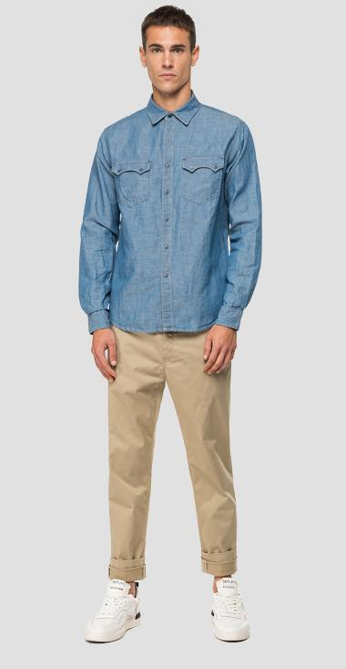 Replay Tailored shirt in cotton and linen denim - Replay M4022S_000_180-Z19_010_1