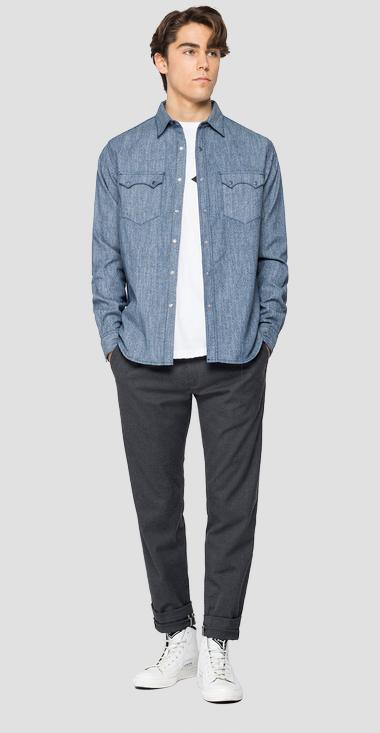 Tailored cotton denim shirt - Replay M4022_000_216-Z26_009_1