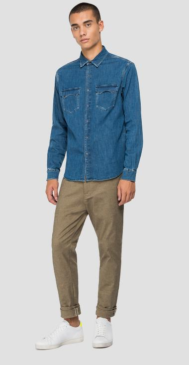 Tailored denim shirt with pockets - Replay M4022_000_485-Z38_009_1