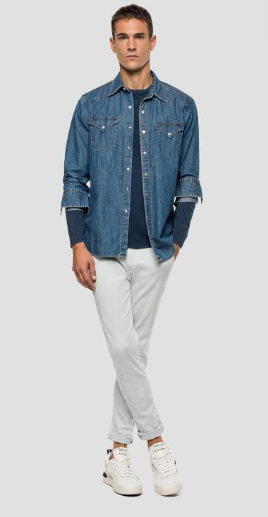 Denim Replay label shirt - Replay M4023_000_26C-614_009_1