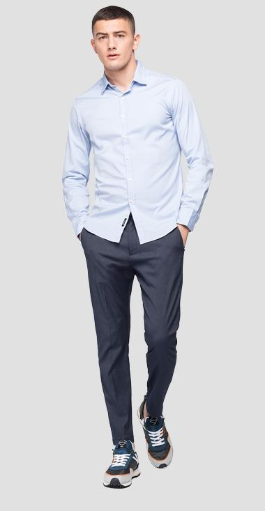 Solid-coloured cotton shirt - Replay M4025_000_52344_010_1